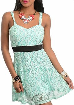 Mint & Black Lace Empire-Waist Dress