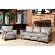 Abbyson Landon Top Grain Leather Sofa and Armchair