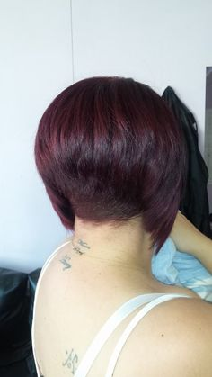 Stacked Angled Bob, Inverted Bob, Short Wedge Hairstyles, Short Hair Styles, Best Bobs, Shaved Nape, Hair Ideas, Hair Cuts, Hair Beauty