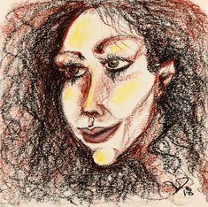 Oil Pastel Paintings, Oil Pastel Drawings, Art Drawings, Abstract Portrait, Woman Drawing, Happy Women, Woman Painting, Art Oil, Fine Art Paper