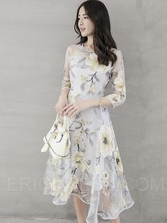 Ericdress Flower Print Expansion Three-Quarter Sleeve Casual Dress 2