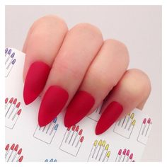 Stiletto, 20pcs, Red Hand Painted Nail Tips Press On Stick On Fake... ❤ liked on Polyvore featuring accessories