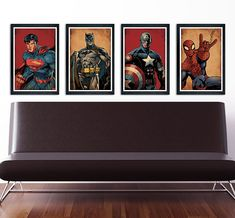 Superhero Poster Set of 4 wall decor 11 x 17 by PropagandaPrints