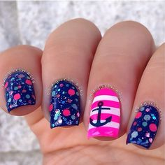 Nauthical design and pink stripes ===== Check out my Etsy store for some nail art supplies https://www.etsy.com/shop/LaPalomaBoutique