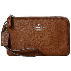 COACH Polished Pebbled Leather Double Corner Zip Bag (Silver/Saddle)... ($60) ❤ liked on Polyvore featuring bags, brown bag, brown handle bags, zipper bag, zip handle bags and zip bag
