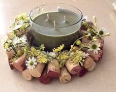 Summer inspired Wine Cork Candle/Bottle ring…Garden Green and Yellow Candle Ring – Garden Projects Wine Cork Candle, Wine Cork Art, Bottle Candles, Wine Cork Centerpiece, Wine Cork Wreath, Wine Craft, Wine Cork Crafts, Wine Bottle Crafts, Art Floral Noel