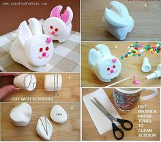 marshmallow bunny. #lunchbox #easter  Instructions at http://www.cutefoodforkids.com/2011/01/marshmallow-bunny.html