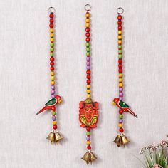 Ganesha Parrot Beaded Hanging Diwali Decoration Items, Diwali Decorations At Home, Decoration For Ganpati, Festival Decorations, Diwali Sale, Diwali Diy, Diwali Craft, Diwali Gifts, Door Hanging Decorations