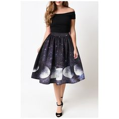 Hot Fashion Galaxy Moon Pattern Elastic Waist Midi Flared Skirt (€23) ❤ liked on Polyvore featuring skirts, galaxy print skirt, white knee length skirt, midi skirt, print skirt and white circle skirt