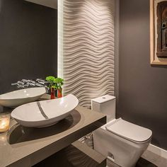 Half Bathroom design Want to refresh your small bathroom decor? Here are Cute and Best Half Bathroom Ideas That Will Impress Your Guests And Upgrade Your House. Gray Bathroom Walls, Bathroom Flooring, Modern Bathroom, Small Bathroom, Bathroom Ideas, Bathroom Designs, Shower Designs, Modern Wall, Modern Contemporary