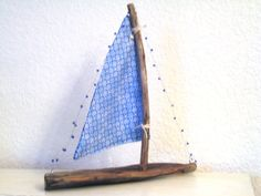 Natural Driftwood Sailboat Reclaimed Wood Boat Handmade Wooden Primitive Boat Beach Cottage Decoration Nautical Rustic