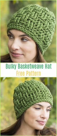 Crochet Boliviana Bulky Basketweave Hat Free Pattern - Crochet Cable Hat Free Patterns
