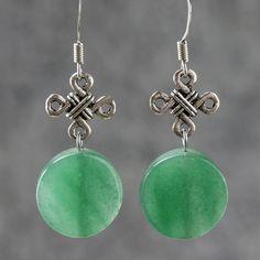 Jade Irish knot dangling drop earrings by AnniDesignsllc on Etsy