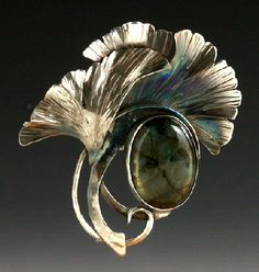 Brooch by Susannah Ravenswing ~ SS and fine silver & labradorite