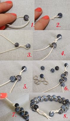 "DIY: Zigzag Bracelet - You will need: A piece of oval 10x5 mm chain 40"" cord 29-30 6mm beads 2 pliers Preparation: (1) Take apart the chain using the pliers. There should be 25-26 links. (2) Take the cord and fold it in half. (3) Use pictures as your guide to complete the bracelet."