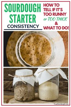 Sourdough Starter Consistency: Too Thick or Too Runny! - I was worried that my sourdough starter was too thick until I read this! Lot's of tips on maintaining sourdough starter, and what to do if it's too thick or too runny. Sourdough Starter Discard Recipe, Yeast Starter, Sourdough Recipes, Sour Dough Starter, Sourdough Baguette Recipe, Artisan Bread Recipes, Think Food, Fermented Foods, Baking Tips