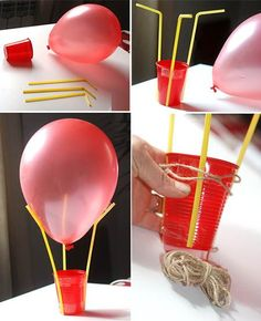 Flying balloon making; 1 balloon, 3 pipettes and 1 cup with Cappadocia flying balloons can do. One of the trends in recent times is to use a flying balloon in Craft Activities For Kids, Preschool Crafts, Projects For Kids, Diy For Kids, Fun Crafts, Diy And Crafts, Paper Mache Crafts For Kids, Flying Balloon, Air Balloon