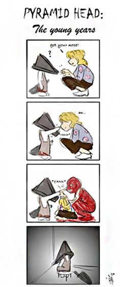 Silent Hill - Little Pyramid Head lol Evil Games, Scary Games, Good Horror Games, Horror Movies, Comic Movies, Creepy Pictures, Funny Pictures, Pyramid Head, Silent Hill