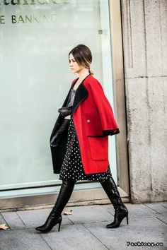 warm winter outfits, street style, red coat, stylish, feminity