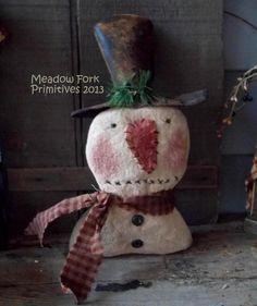 Folk Art Ooak Primitive Snowman Shelf Sitter *little Bit