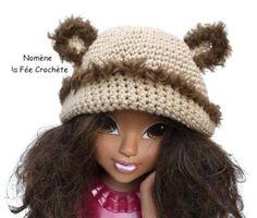 Bonnet marron ourson, pour enfant, mixte, au crochet fait main