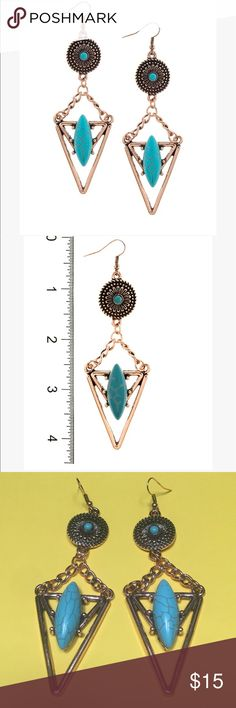 """Antique Copper Festival Earrings Drop Approx. 4.4"""" Fish hook. Faux stone. Price firm unless bundling. Get a better value when you bundle. Copper and turquoise colors. Evolving Always Jewelry Earrings"""
