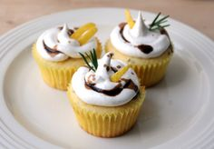 Lemon rosemary cupcakes with Italian meringue icing