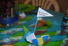 Origami Boat Food Labels - Under The Sea Party @ Crayon Box Chronicles