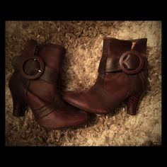 JC heeled boots. Gorgeous leather heeled boots - never worn, only tried on. functional buckles on one side. Size 37 (runs narrow) Jeffrey Campbell Shoes Ankle Boots & Booties