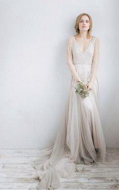 Long Sleeve V-Neck Illusion Tulle Weddig Dress With Beading – June Bridals