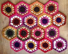 Hexagon crochet blanket the first 16 motifs