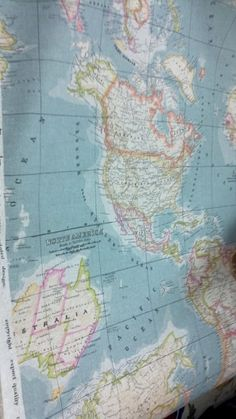 Map fabric - stretch over a canvas and hang on the wall for an inexpensive piece of artwork!