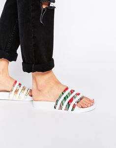 Imagen 1 de Sandalias multicolor sin cierres con diseño de dragón Adilette de adidas Originals