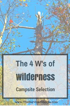 The 4 W's of Wilderness Campsite Selection --Posted on November 2014 by Survival Sherpa by Todd Walker Bushcraft Camping, Camping And Hiking, Camping Survival, Outdoor Survival, Survival Prepping, Family Camping, Emergency Preparedness, Survival Gear, Survival Skills