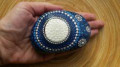 Items similar to SOLD: Home decoration, Lunar Magic Jewel Drop Mandala Stone on Etsy Beach Rock Art, Beach Rocks, Mandala, My Etsy Shop, Dots, Hand Painted, Magic, Jewels, Stone