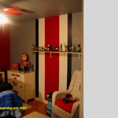 Osu Paint Zach S Room Is Like This Only The Stripe Also Goes Across The Ceiling And Down The Opposite Wall Too