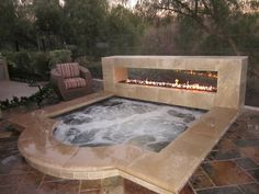 hot tub fire feature/who wouldn't want this in their back yard? I like ground level but pre-built jacuzzi! Spa Jacuzzi, Jacuzzi Outdoor, Spa Tub, Outdoor Spaces, Outdoor Living, Living Pool, My Pool, My Dream Home, Future House