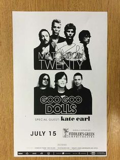 Original AUTOGRAPHED concert poster for Matchbox Twenty and The Goo Goo Dolls at Fiddler's Green in Denver, CO in 2013. SIGNED BY Rob Thomas.  11 x 17 inches.