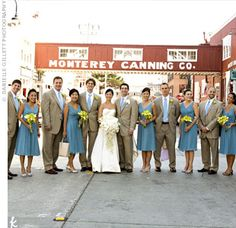 like the look of this bridal party. girls in light blue with yellow bouquets. men in casual tan suits with blue ties and yellow boutonnieres.