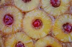 Pineapple Upside Down Cake - a classic skillet recipe with caramelized brown sugar, delicious sweet pineapple slices, cherries, and a perfectly moist cake!  This recipe is a winner!