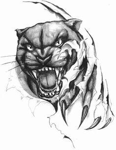 Panther Skull Tattoos, Animal Tattoos, Sleeve Tattoos, Leopard Tattoos, Lioness Tattoo, Tiger Tattoo, Wolf Tattoo Design, Tattoo Designs, Ripped Skin Tattoo