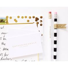 """""""REBRANDED // Here is the custom logo and business card we designed last year for Catherine of @catherinegrace__  clean, modern and gold """" www.misspoppydesign.com"""