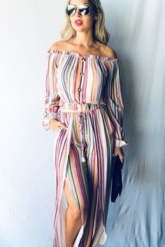 This multi-color striped jumpsuit is so comfy and perfect for this incoming warm spring weather. With a blend of polyester and spandex with a slit leg feature! Summer Outfits, Cute Outfits, Summer Clothes, Fashion Outfits, Fashion Ideas, Women's Fashion, Striped Jumpsuit, Fiesta Party, Summer Chic