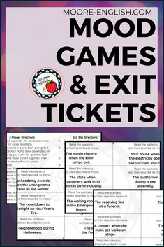 Includes 24 cards focused on helping students identify and use mood words, so this works as a way to discuss an important literary device while also working on vocabulary skills. One of my favorite parts of this set is that is can be used multiple ways: as a 2-player game, a 3  player game, and as exit tickets. Since this set is designed for flexibility, the entire set is available in Google Slides so you can decide whether you want to use these cards digitally or whether you want to print. Vocabulary Instruction, Vocabulary Games, Grammar And Vocabulary, Mood Words, Instructional Planning, Teaching Secondary, Curriculum Design, Exit Tickets, Formative Assessment