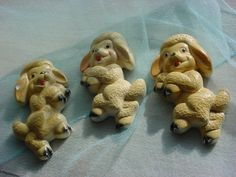 3 Vintage Lambs Sheep Chalkware Plaster Plaques 1950s Wall Decor Shabby Cute