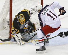 AP                  Published 9:46 p.m. ET April 20, 2017 | Updated 8 minutes ago        Pittsburgh Penguins goalie Marc-Andre-Fleury (29) stops a shot by Columbus Blue Jackets Matt Calvert (11) during the first period in Game 5 of an NHL first-round hockey playoff series in...  http://usa.swengen.com/penguins-eliminate-blue-jackets-with-5-2-win-in-game-5/
