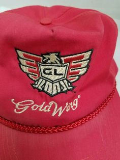 c7904a3a16d Vtg GL GoldWing Ball Cap Honda Motorcycle Patch Eagle slide trucker hat USA   Honda