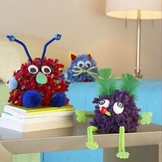 Pom-Pom Pals- I was surprised at how easy these look! http://www.parents.com/fun/arts-crafts/kid/pom-pom-pals-craft/?page=1