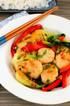 An elegant and colorful stir-fry of scallops and bok choy.  Bright and spicy with chili bean sauce, garlic, and ginger.