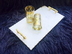 White Marble Serving Tray with Gold Gilded by JesseDimondDesign